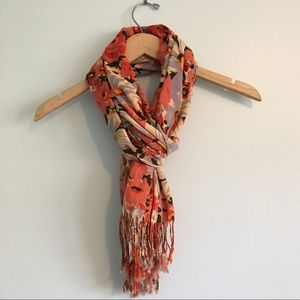 Orange & Blue Floral Scarf with Tassels